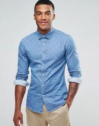 Джинсовая рубашка суперузкого кроя с принтом пейсли ASOS - Синий