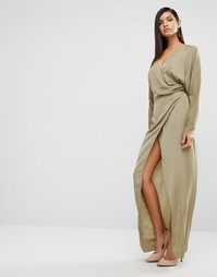 Платье-макси с драпировкой AQAQ Marvey - Зеленый