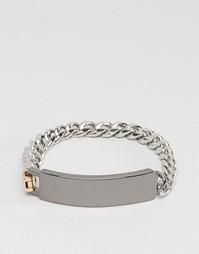Серебристый браслет-цепочка с жетоном премиум-класса Icon Brand - Серебряный