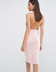Платье миди с открытой спинкой AQAQ Cartney - Розовый