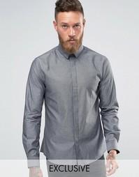 Рубашка зауженного кроя с узором гусиная лапка Noose and Monkey - Серебряный