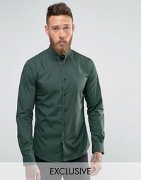 Рубашка зауженного кроя цвета хаки с булавкой на воротнике Noose and Monkey - Зеленый