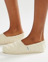 Вязаные туфли на плоской подошве и с меховой подкладкой TOMS - Белый
