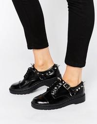 Массивные кожаные туфли на шнурках с заклепками T.U.K. - Черный