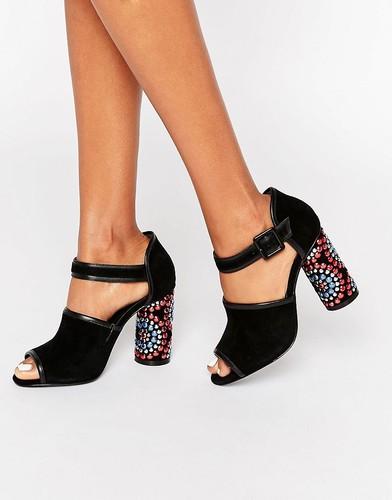 Черные сандалии с декорированным каблуком Kat Maconie Sierra - Черный