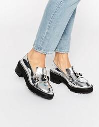 Серебристые туфли на толстой плоской подошве Kat Maconie Salma - Серебряный