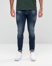 Темные выбеленные джинсы с напылением Hoxton Denim - Темно-синий