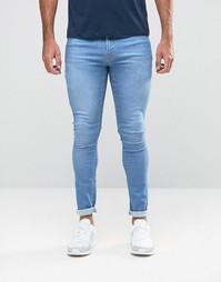 Ярко-голубые джинсы с напылением Hoxton Denim - Синий