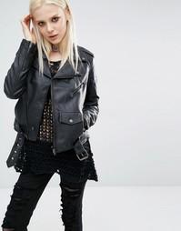 Байкерская куртка из искусственной кожи Tripp NYC - Черный