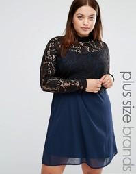 Свободное платье с кружевным топом 2-в-1 с высоким воротом Junarose - Мульти