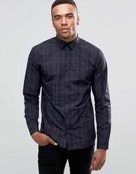 Рубашка зауженного кроя в клетку с длинными рукавами Jack & Jones Premium - Темно-синий