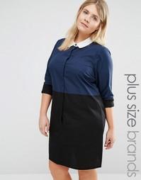 Платье-рубашка в стиле колор блок с асимметричной кромкой Junarose - Мульти