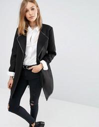 Пальто с запахом и отделкой из искусственной кожи J.D.Y - Черный JDY