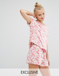 Пижама с шортами Chelsea Peers Heart Burst - Розовый
