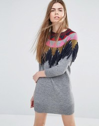 Трикотажное платье‑джемпер с бахромой Vanessa Bruno Athe - Серый