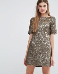 Жаккардовое платье металлик Baum Und Pferdgarten Alexandra - Золотой