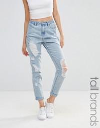 Джинсы в винтажном стиле с рваной отделкой Missguided Tall - Синий