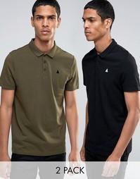 2 свободных футболки-поло из пике с вышивкой ASOS - Мульти