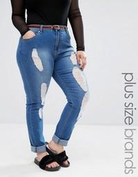 Рваные джинсы Boohoo Plus - Синий