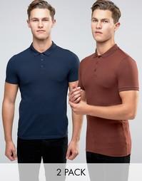 2 облегающих футболки‑поло ASOS - Мульти