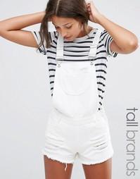 Комбинезон с шортами из денима с потертостями Missguided Tall - Белый