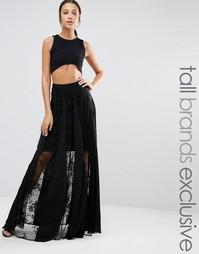 Кружевная юбка макси со складками True Decacende Tall - Черный