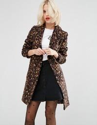 Пальто узкого кроя с леопардовым принтом ASOS - Мульти