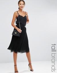 Плиссированная юбка с кружевным низом Y.A.S Tall - Черный