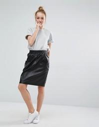 Полиэстеровая юбка с завышенной талией и карманами Monki - Черный