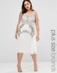 Платье миди с отделкой Boohoo Plus - Белый