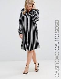 Платье-рубашка в полоску ASOS CURVE - Мульти