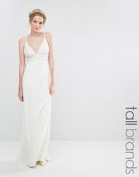 Свадебное платье макси с отделкой жемчугом и шлейфом Maya Tall - Белый