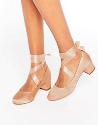 Туфли на каблуке с завязкой ASOS SO TRUE - Бежевый