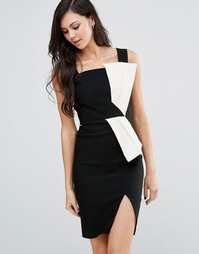 Монохромное платье-футляр с бантом Vesper - Черный