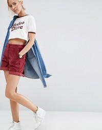 Бордовые вельветовые шорты ASOS - Красный
