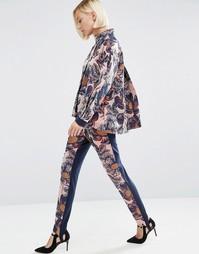 Фактурные брюки скинни с цветочным принтом ASOS WHITE - Мульти