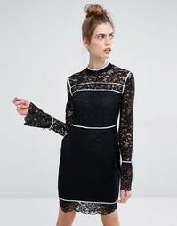 Платье с рукавами-колоколом и голубой окантовкой Sportmax Code Augusto - Черный