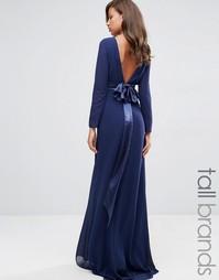 Платье макси с длинными рукавами TFNC Tall Wedding - Темно-синий