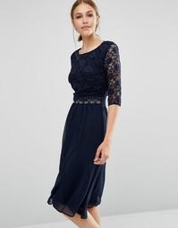 Платье миди с кружевной отделкой Elise Ryan - Темно-синий