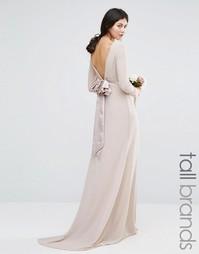 Платье макси с длинными рукавами TFNC Tall Wedding - Розовый