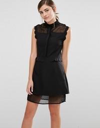Платье-рубашка без рукавов с полупрозрачной вставкой в горошек и фигурной отделкой Fashion Union - Черный