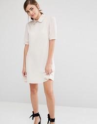 Цельнокройное платье с фигурным воротником Fashion Union - Бежевый