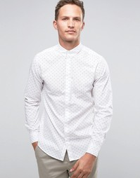 Строгая рубашка с длинными рукавами и принтом Selected Homme - Белый