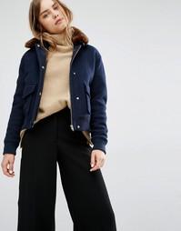 Темно-синяя куртка-пилот с искусственным мехом Samsoe & Samsoe Louche - Темно-синий