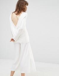 Топ с длинными рукавами и перекрестным дизайном на спинке Samsoe & Samsoe Colville - Кремовый