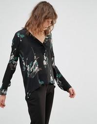 Черная рубашка с цветочным принтом Samsoe & Samsoe - Черный
