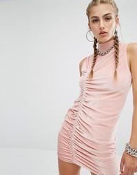 Бархатное облегающее платье с высокой горловиной Jaded London Co-Ord - Розовый