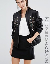 Fashion Union Tall Slinky Floral Embroidered Bomber Jacket - Черный