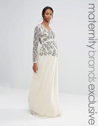 Платье макси с длинными рукавами и цветочной отделкой Maya Maternity - Кремовый