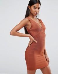 Бандажное платье миди с глубоким декольте WOW Couture - Коричневый